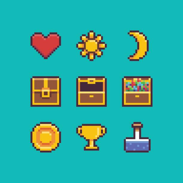 Pixel Art Interface Pixel art heart, chest, coin, golden goblet, sun and moon icons with outlines antiquities stock illustrations