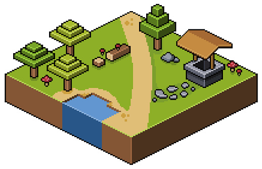 Pixel art isometric landscape forest