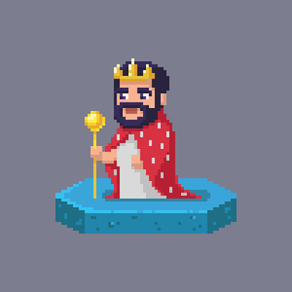 Pixel art king character. Fairytale personage.