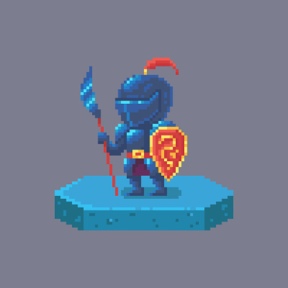 Pixel art knight or warrior character. Fairytale personage.