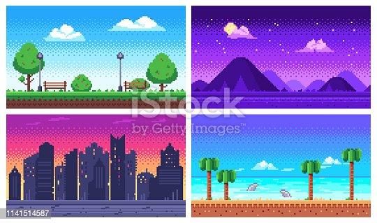 istock Pixel art landscape. Summer ocean beach, 8 bit city park, pixel cityscape and highlands landscapes arcade game vector background 1141514587