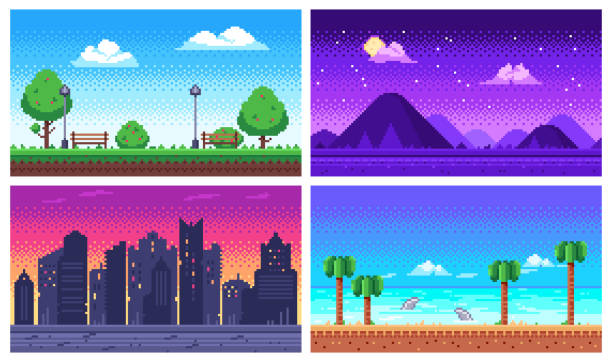 illustrazioni stock, clip art, cartoni animati e icone di tendenza di pixel art landscape. summer ocean beach, 8 bit city park, pixel cityscape and highlands landscapes arcade game vector background - sfondo artistico
