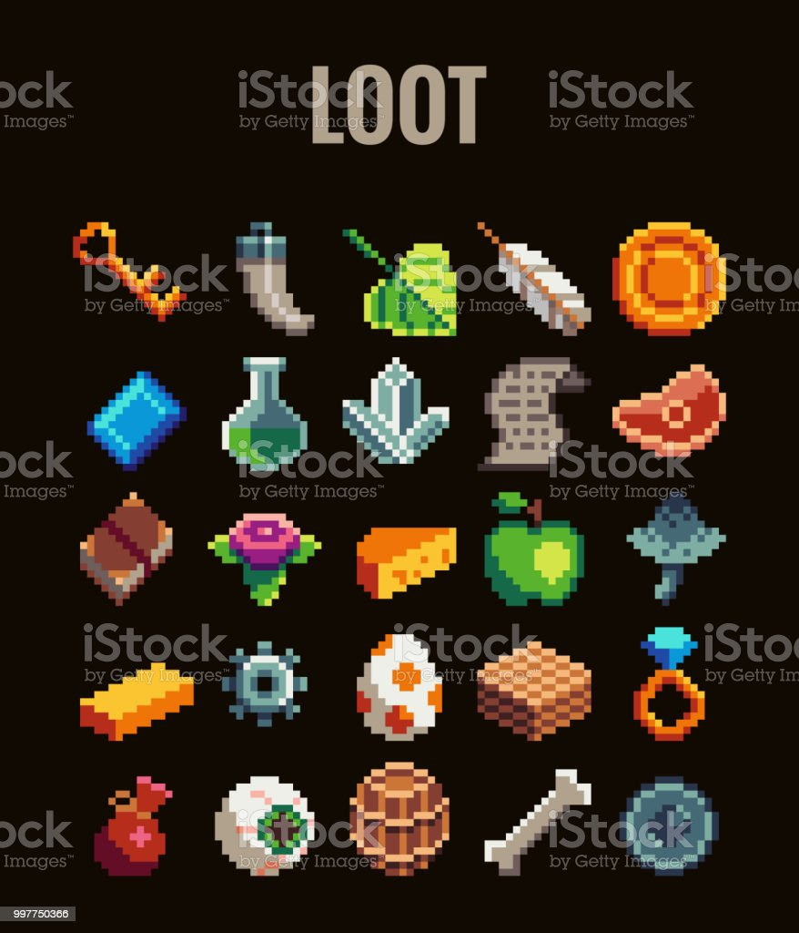 Pixel Art Loot Set For Video Games Retro Style 8 Bit Icons