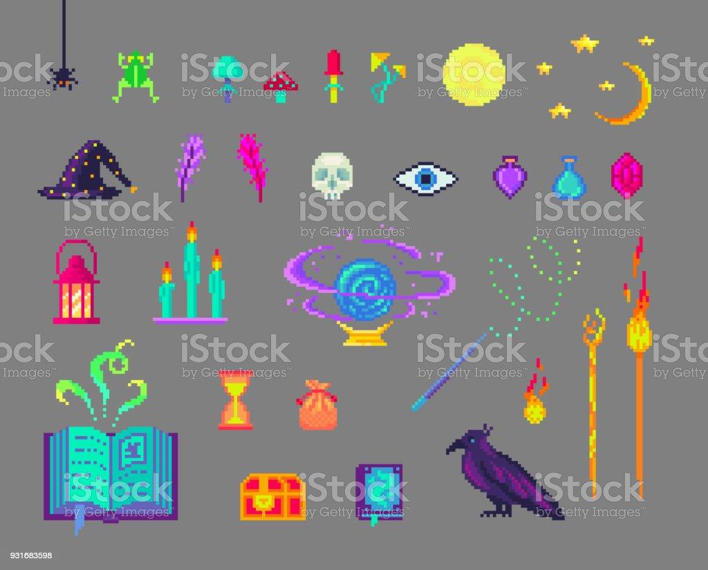 Bекторная иллюстрация Pixel art magic set.