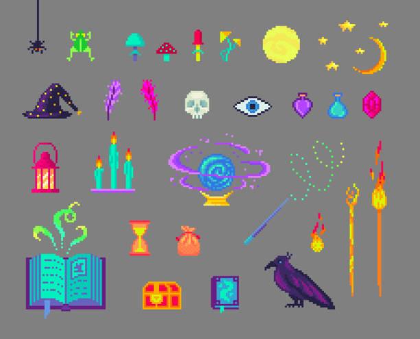 pixel art magic set. - living organism stock illustrations