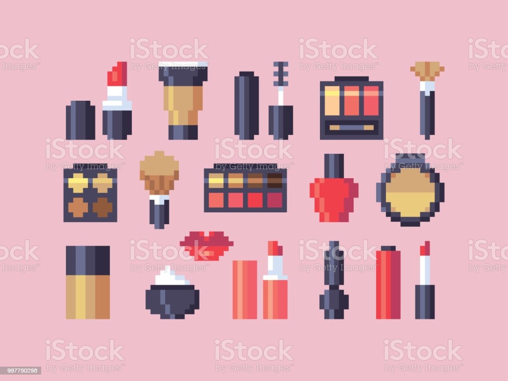 Pixel Art Makeup Cosmetics Vector Icons Set Stock