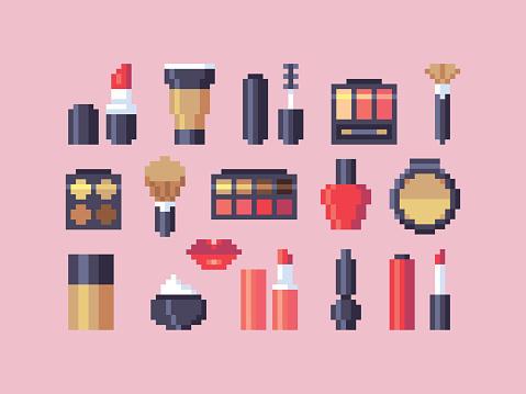 Pixel art makeup cosmetics vector icons set.
