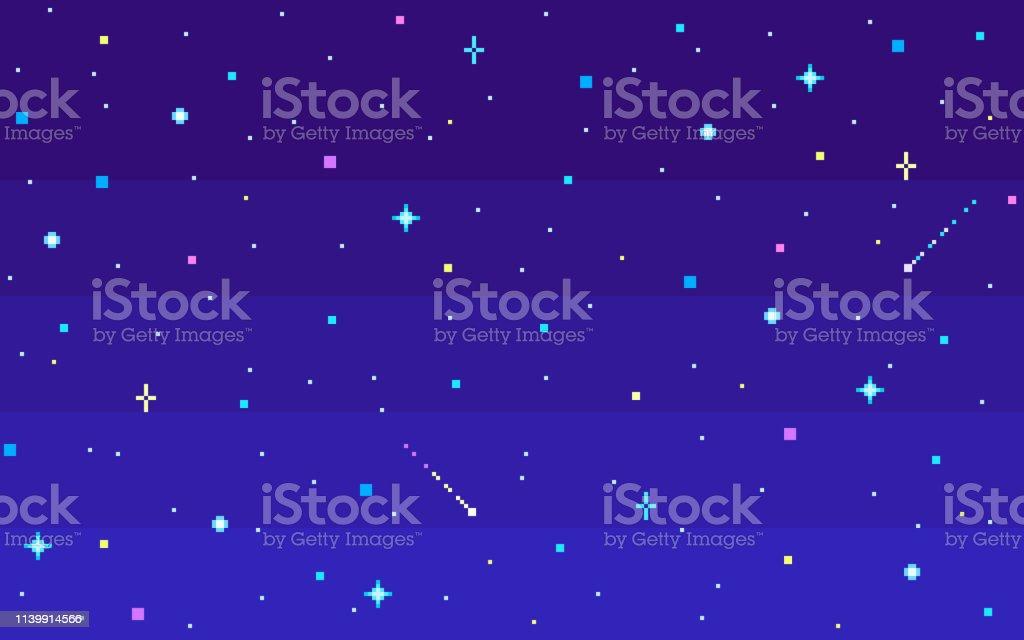 Pixel Art Nuit Ciel étoilé Vecteurs Libres De Droits Et Plus