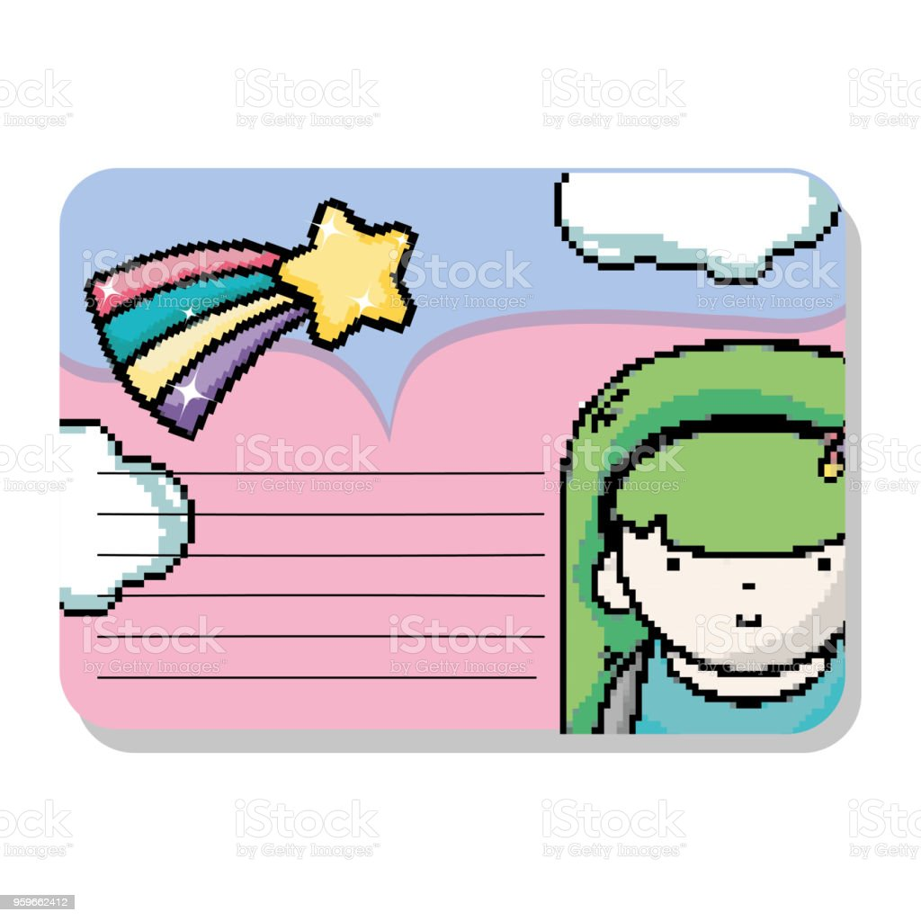 pixel art notes mockup stock vector art more images of adventure rh istockphoto com Laptop Vector Vector Person at Computer