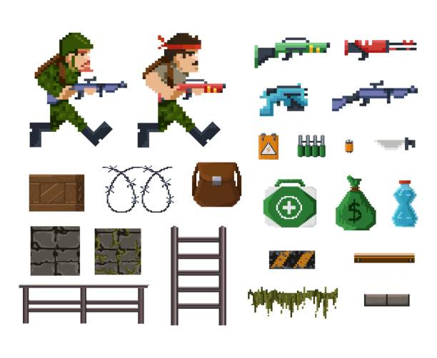 ilustrações de stock, clip art, desenhos animados e ícones de pixel art objects and characters for shooter game - man joystick