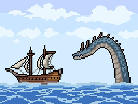 pixel art of sea monster chasing ship