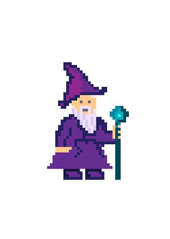Pixel art old wizard