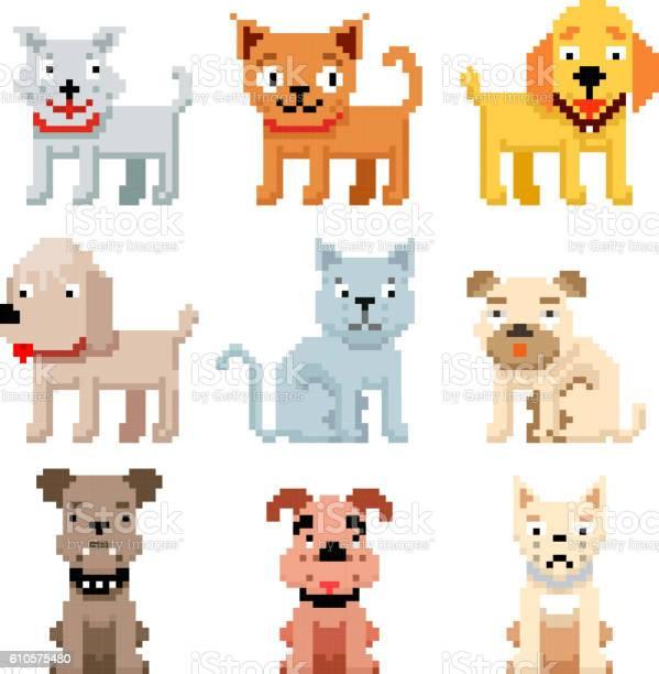 Pixel art pets icons 8 bit dogs and cats vector vector id610575480?b=1&k=6&m=610575480&s=612x612&h=kf15uvkyp1cikzjoktkrltdjpksqz6ro0qeuc5clprk=