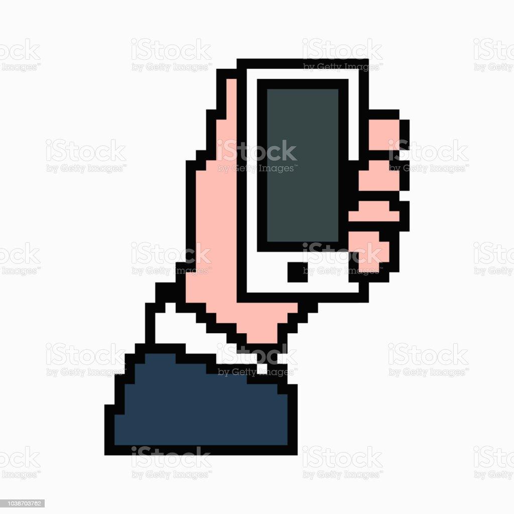 ピクセル アートが手に携帯電話します。ベクトル 8 ビットの web アイコンが白い背景に分離されました。 ベクターアートイラスト