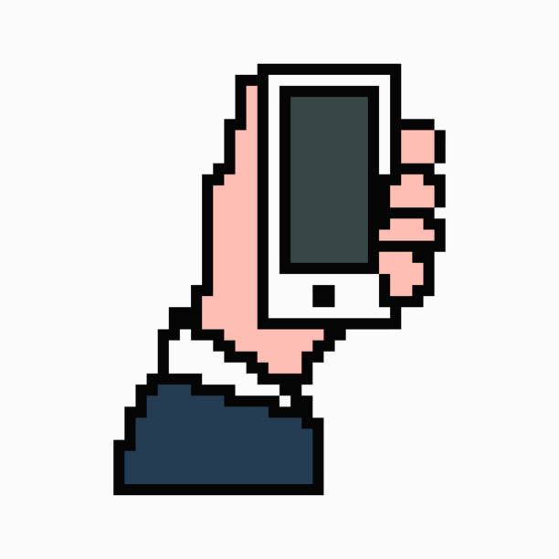 pixel art phone in hand. vector 8 bit web icon isolated on white background. - hand holding phone stock illustrations