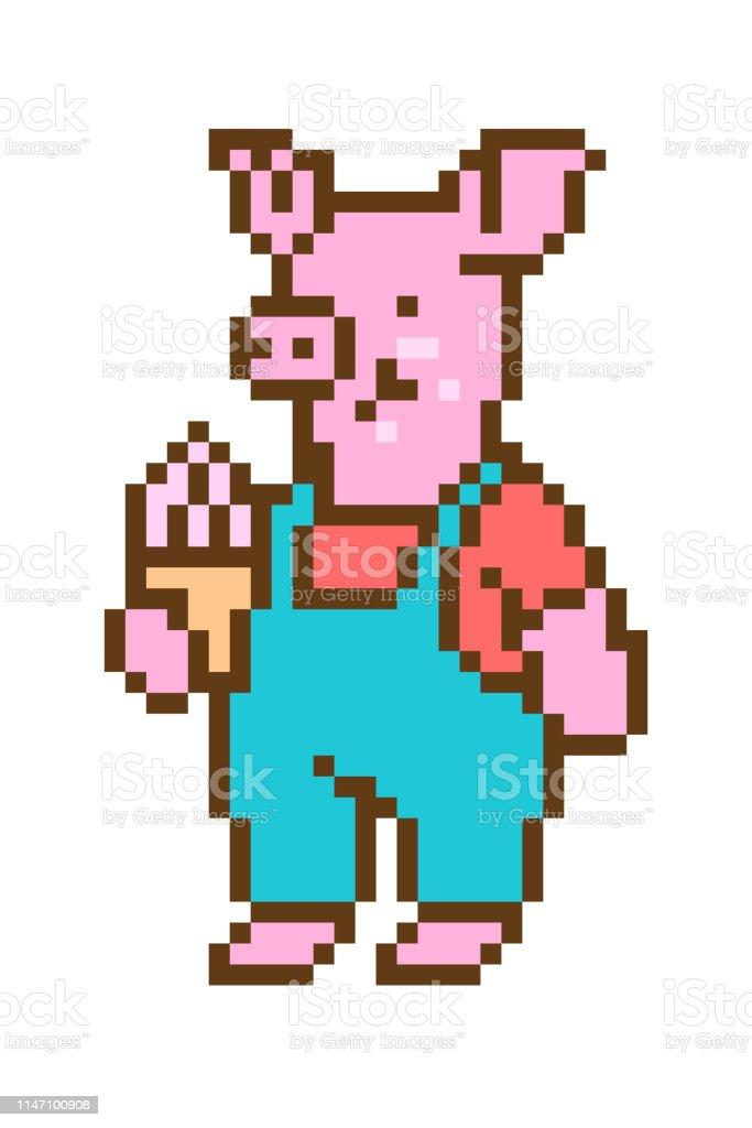 Pixel Art Cochon Manger Cône De Crème Glacée Personnage De