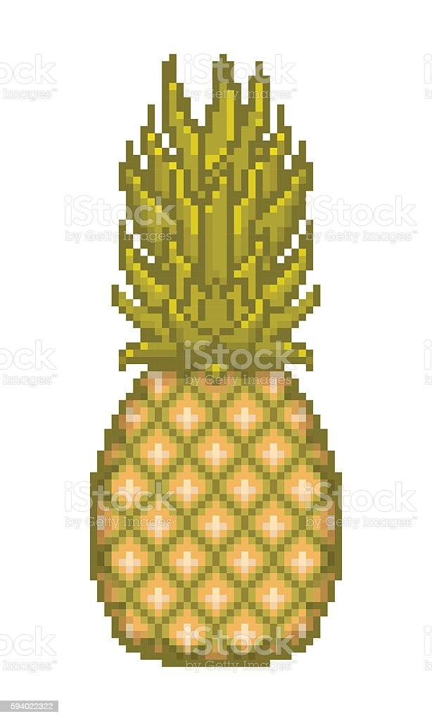 Pixel Art Pineapple Icon Stock Illustration Download Image