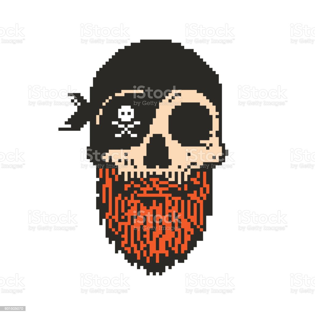 Pixel Art Pirate Skull With Beard Royalty Free Stock