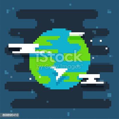 istock Pixel art planet 858895410
