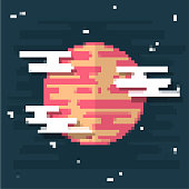Vector illustration of a planet in pixel art style