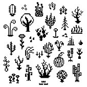 Pixel art plants, 8 bit monochrome vegetation icons, retro styled living nature elements, various fantastic herbs sprites for retro gaming themed designs