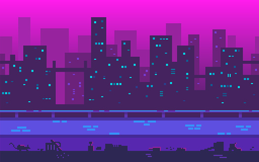 Pixel art playground. Metropolis with skyscrapers in the evening.