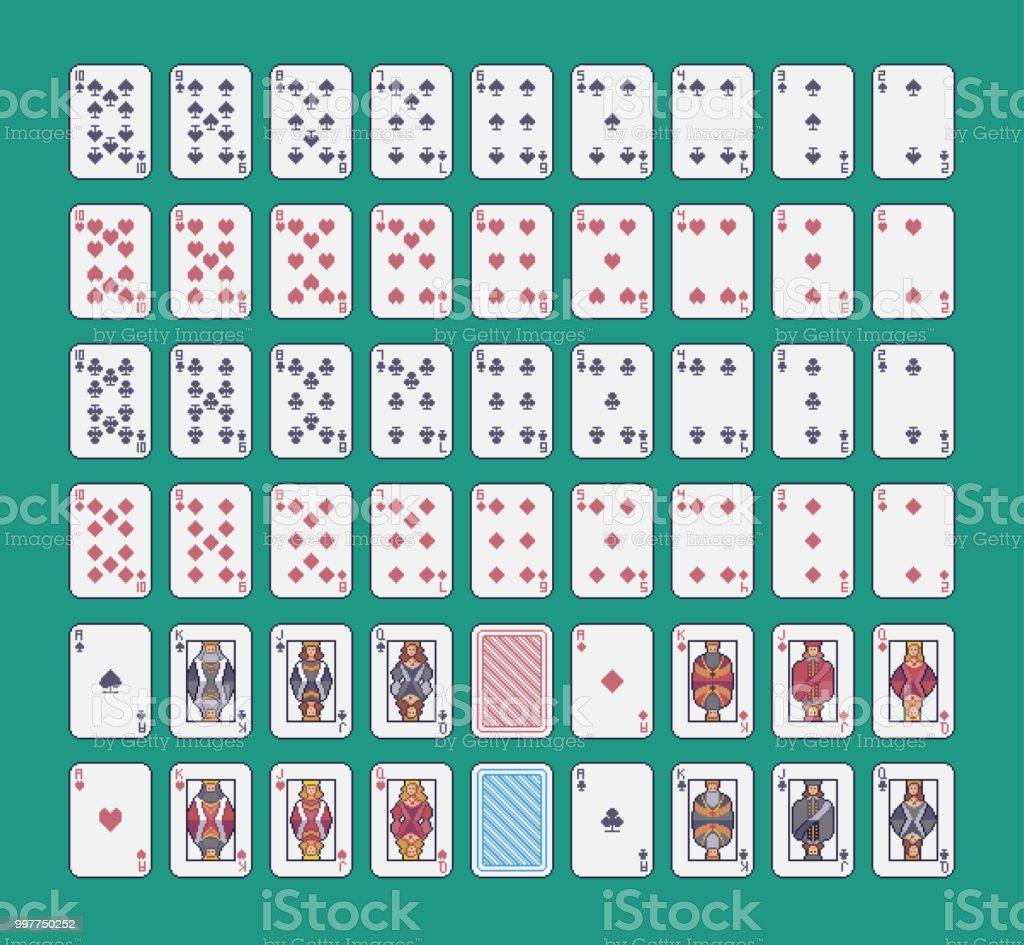 La Valeur De Pixel Art Cartes à Jouer Standart Pont Vecteur