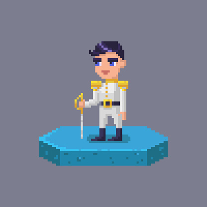 Pixel art prince character. Fairytale personage.