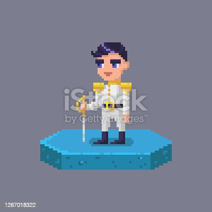 istock Pixel art prince character. Fairytale personage. 1267018322
