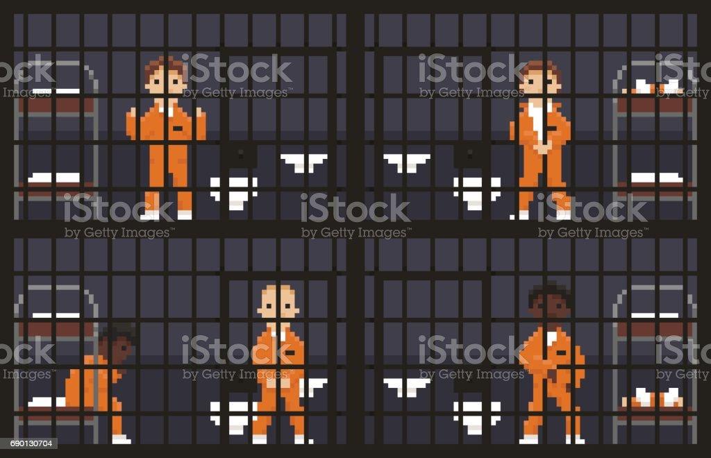 Pixel Art Prison Stock Illustration - Download Image Now - iStock