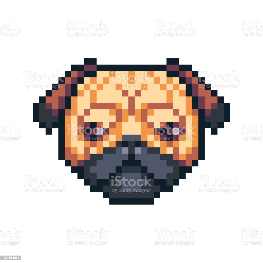 Pixel Art Pug Dog Vector Icon Stock Illustration Download