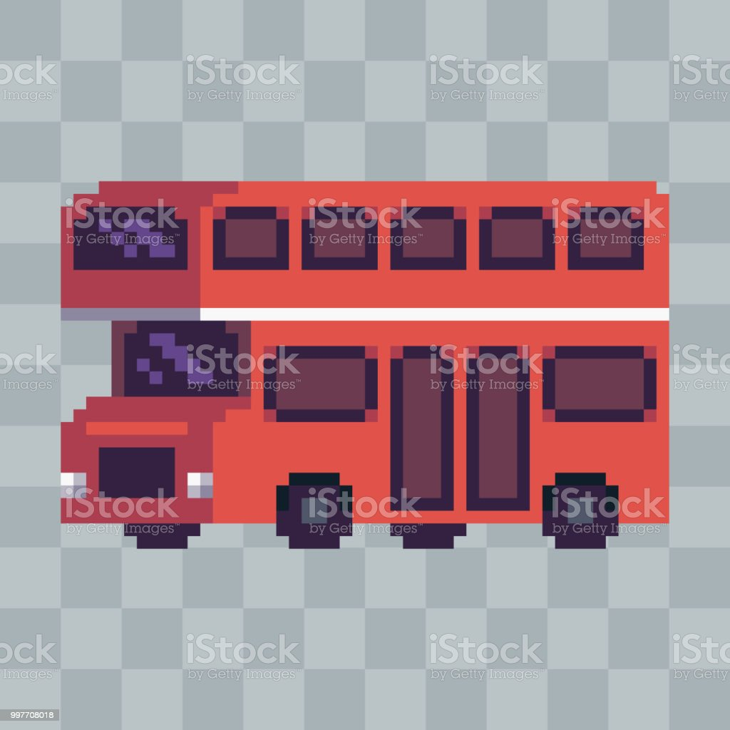 Pixel Art Ville Rouge Bus Véhicule Icône Vecteurs Libres De