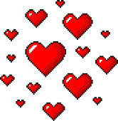 Pixel art red hearts detailed illustration isolated vector