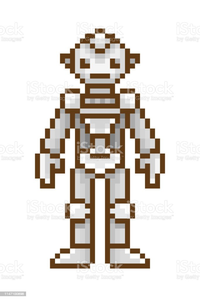 Pixel Art Robot Isolated On White Background Retro 80s 90s