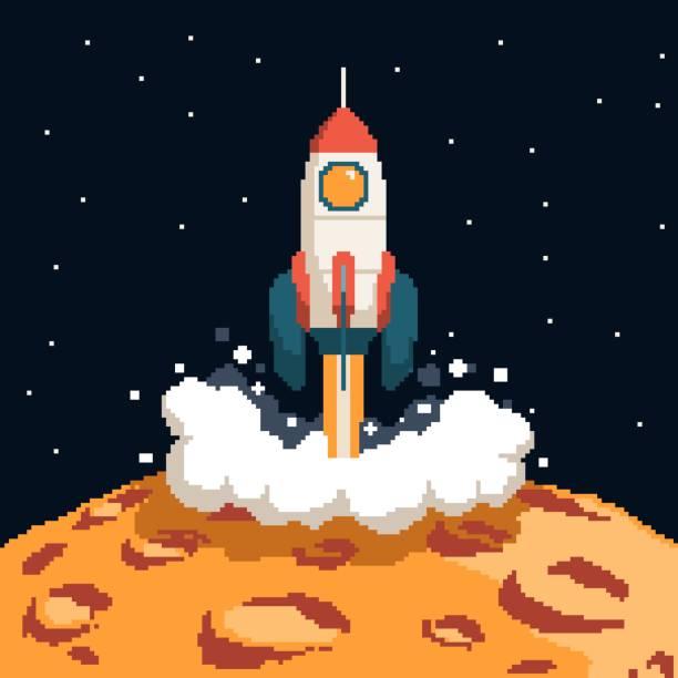 Bекторная иллюстрация Pixel art rockets taking off from