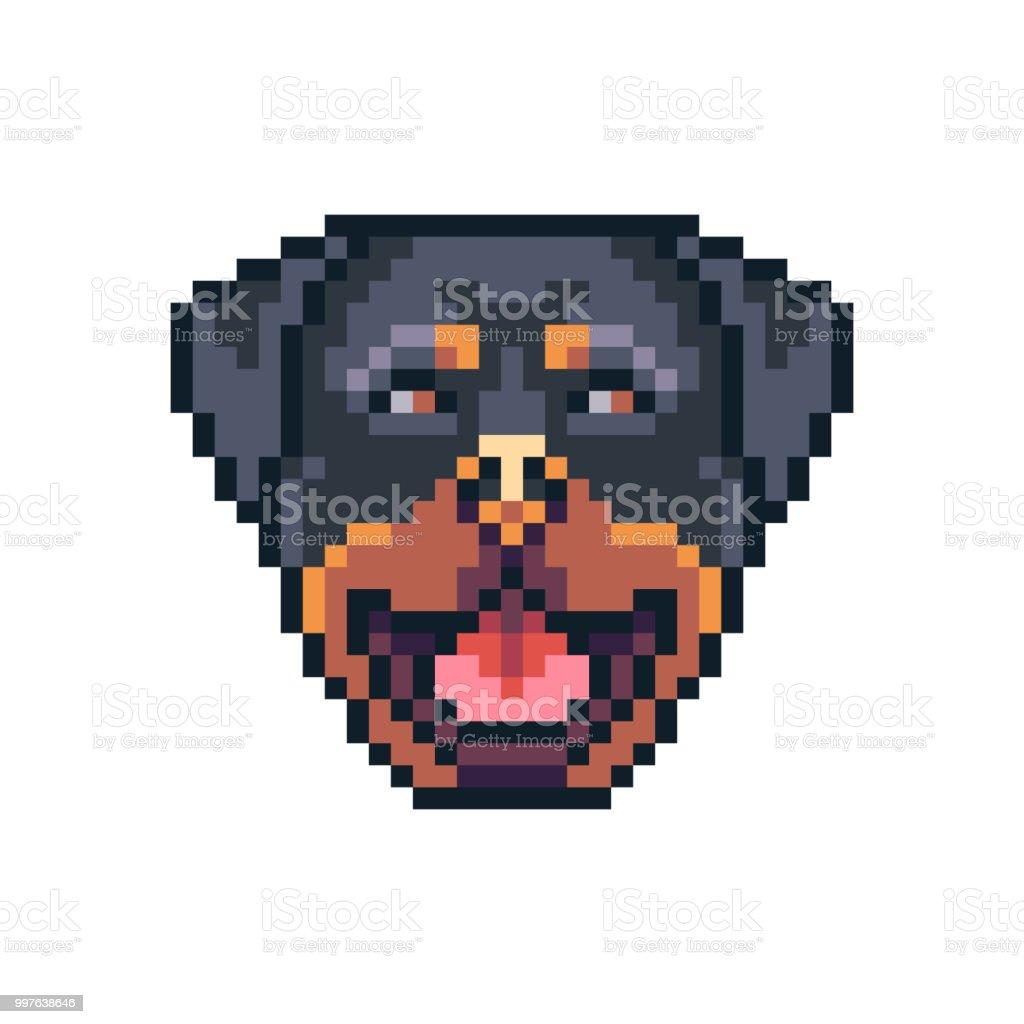 Icône De Vecteur De Pixel Art Rottweiler Chien Visage