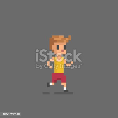 Pixel art icon running man. Vector illustration.