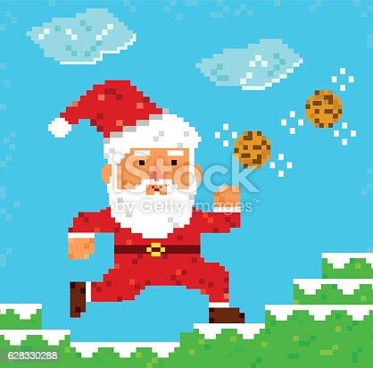 istock pixel art Santa Clause 628330288