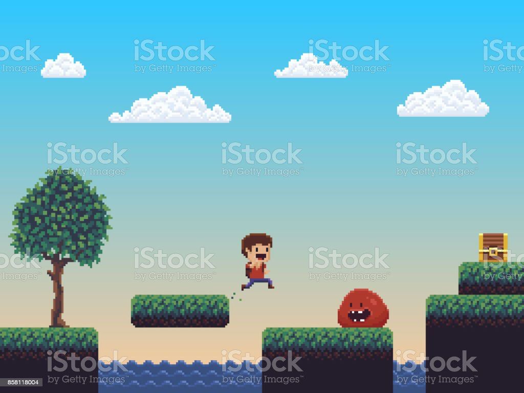 Pixel Art Scene royalty-free pixel art scene stock illustration - download image now