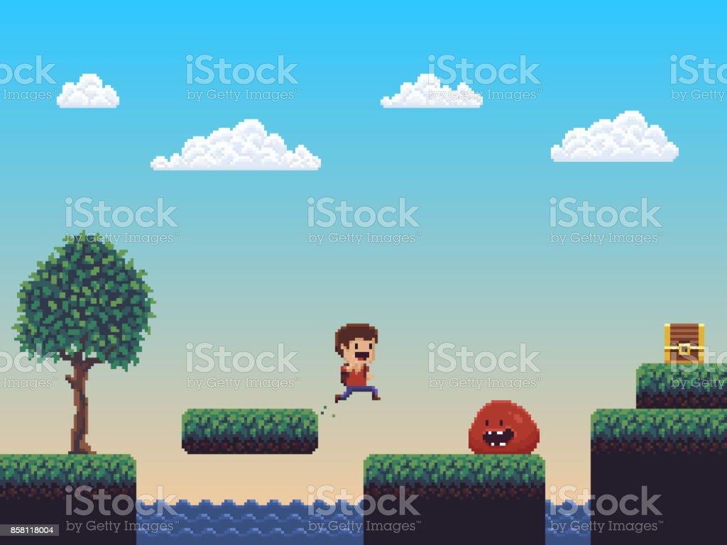 Pixel Art Scene vector art illustration