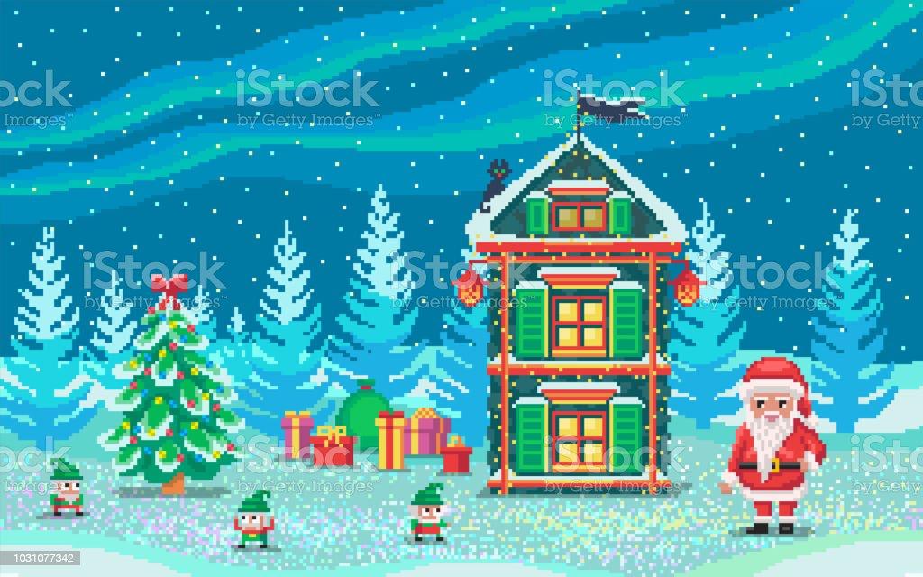 Pixelartszene Mit Santa Claus Und Gnome Stock Vektor Art und mehr ...