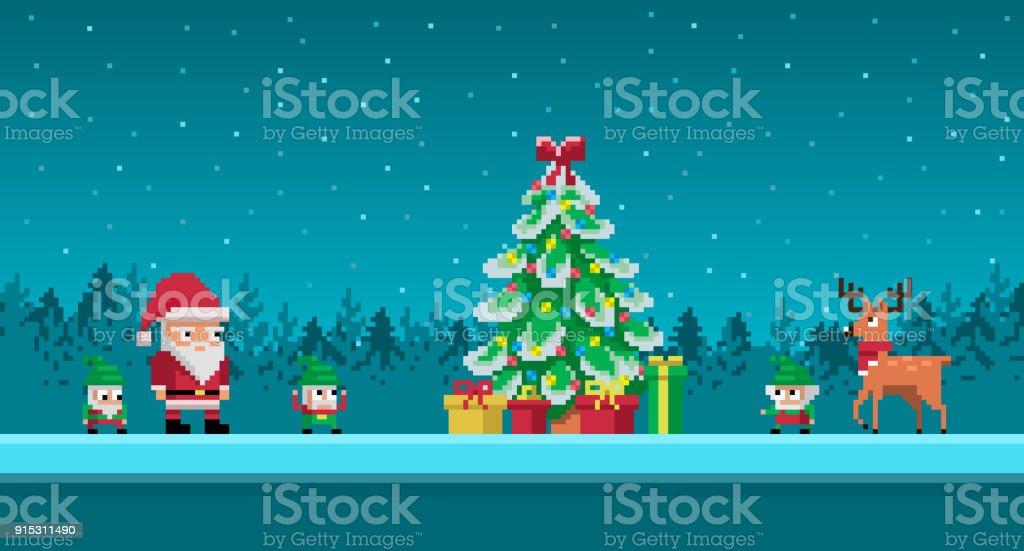 Scène Artistique Pixel Avec Le Père Noël Et Les Gnomes