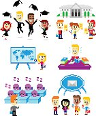 6 Cliparts about School:  Graduates Wearing Toga while  Jumping & Throwing Cap at The Graduation Day; Talented Students Holding Scholarship Certificates;  A Girl Studying a World Map; A Boy Doing His Homework; A Teacher Giving Boring Lecture Make The Students Sleepy; Students Receiving A Broadcast Message from Their Phones; (in Vector Pixel Art Style)
