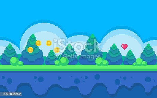 Pixel art seamless background. Location with forest at day. Landscape for game or application.
