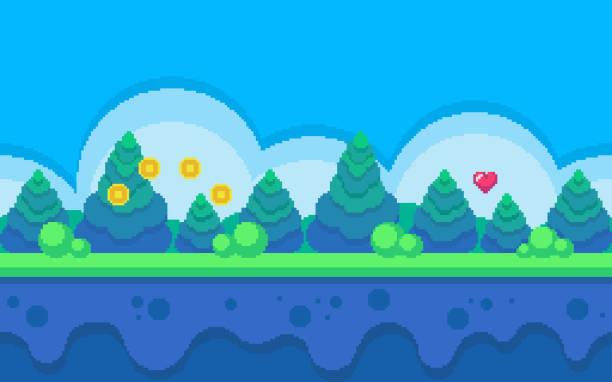 pixel art seamless background. - living organism stock illustrations