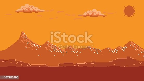 Backgrounds, Pixelated, Bit - Binary, Video Game, Mountain