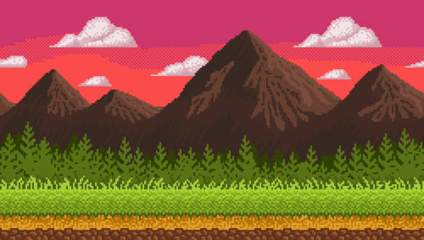 Pixel art seamless background with mountains. vector art illustration