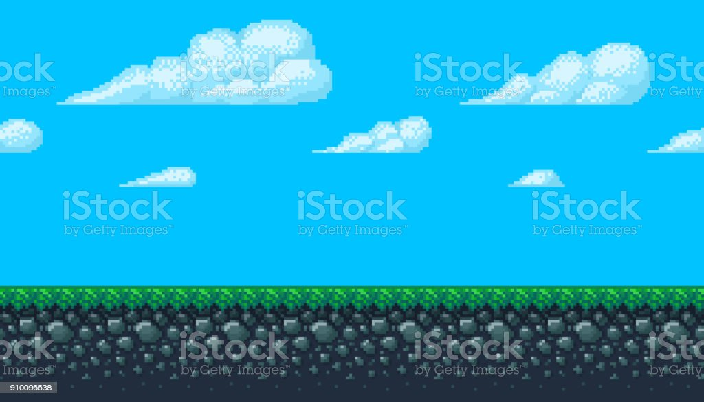 Pixel art seamless background with sky and ground. vector art illustration