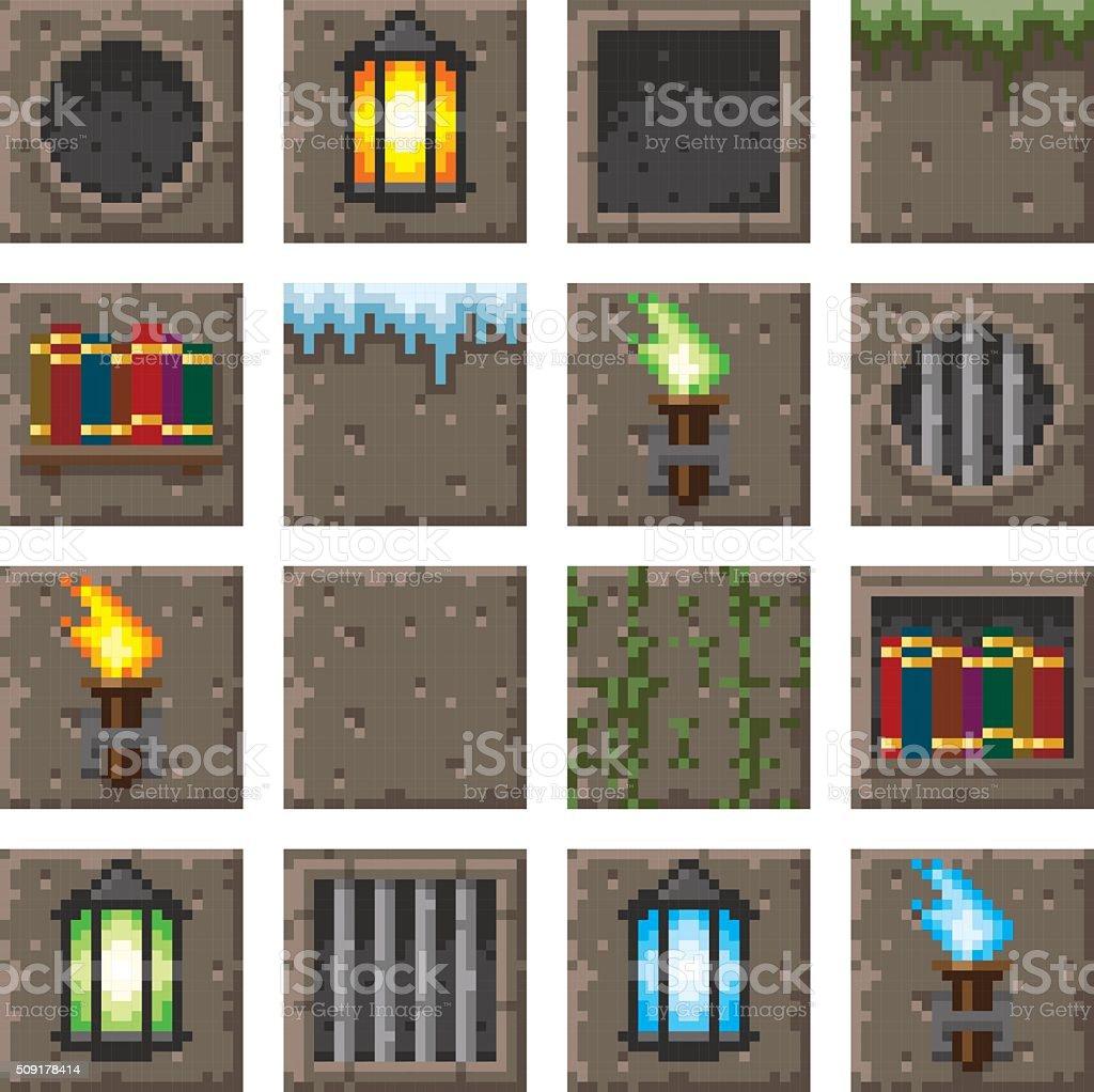 Pixel Kunst Nahtlose Spiele Dungeon Accessoirekacheln Stock Vektor - Minecraft pixel spiele