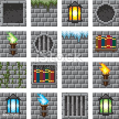 A set of small pixel art tiles that can be used to create seamless terrains for gaming. Includes textures of dirt, stone, and brick. Download includes an AI10 vector EPS file as well as a high resolution JPEG (3,000 pixels in size).
